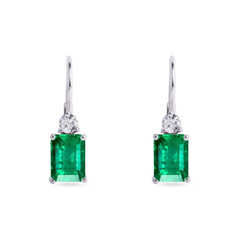Zlaté náušnice se smaragdy a diamanty  ac584dc03b5