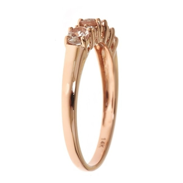 Rotgold schmuck damen  KLENOTA | Morganit Ring mit Diamanten, Roségold | Ringe Edelsteine ...