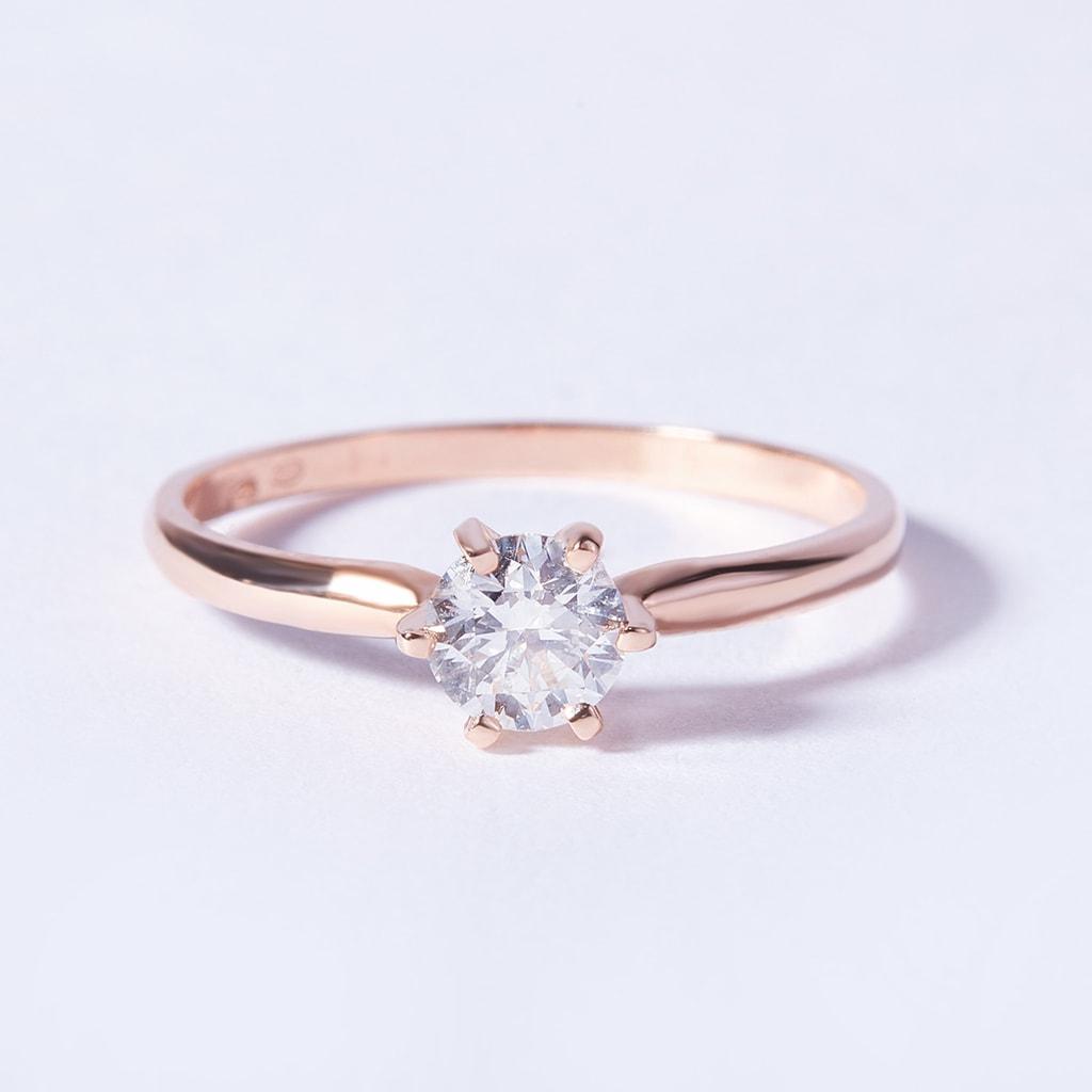 Zásnubný prsteň z ružového zlata s briliantom  a8a2d5bf316