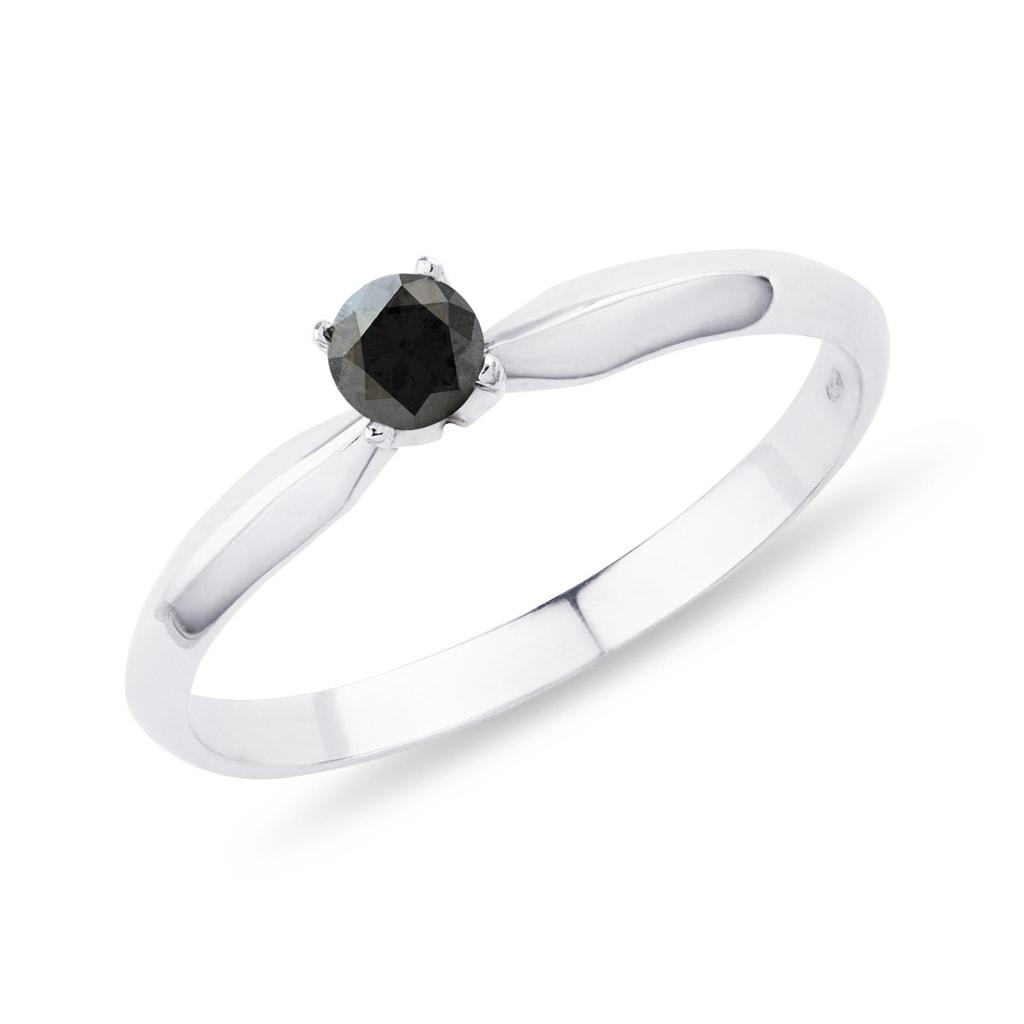 Black Diamond Engagement Ring In White Gold Klenota