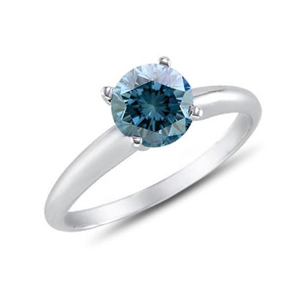 Exceptionnel KLENOTA | Bague de fiançailles en or blanc et diamant bleu  EN17