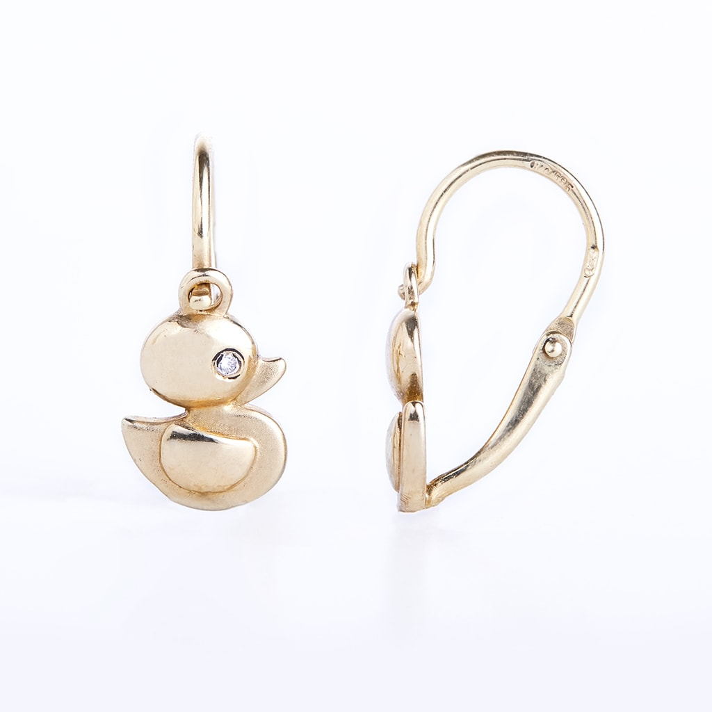 baby diamond duck earrings in 14kt gold jewellery with love. Black Bedroom Furniture Sets. Home Design Ideas