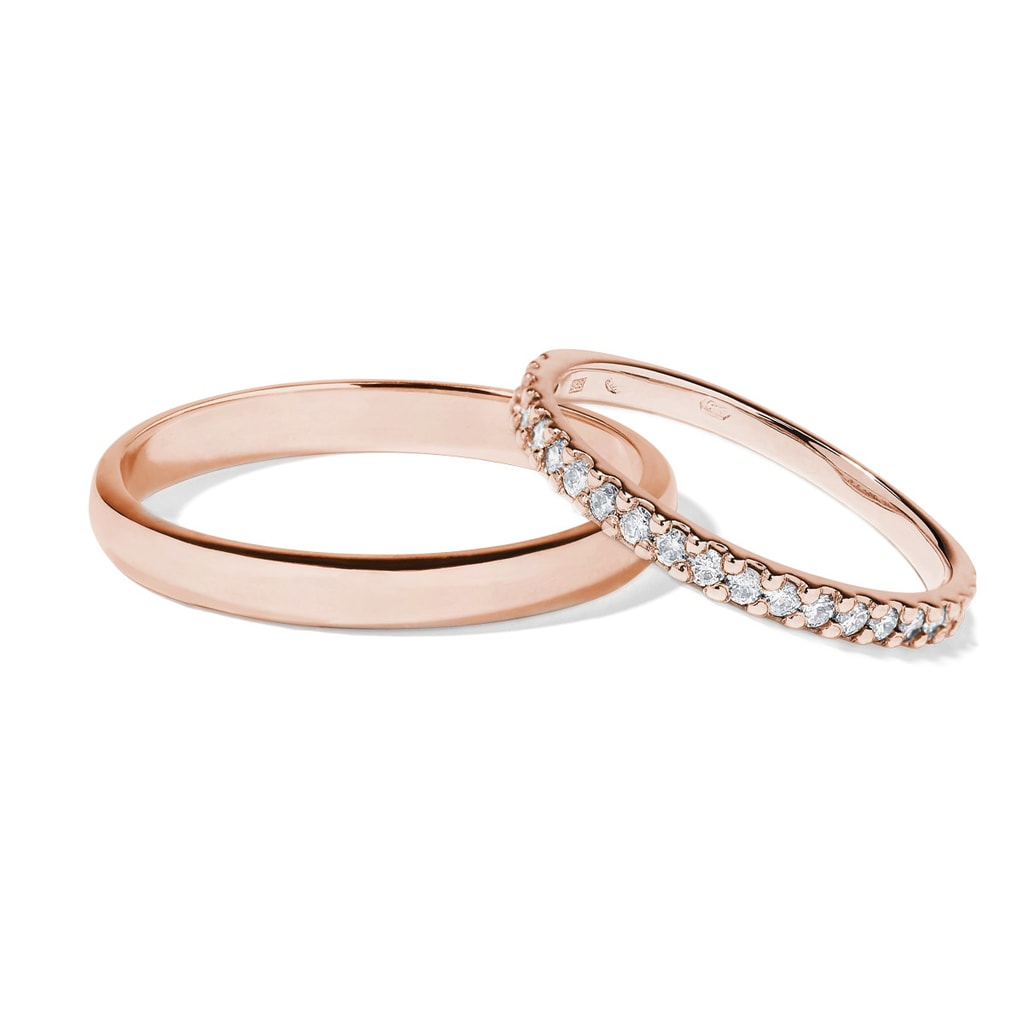 Snubni Prsteny Z Ruzoveho Zlata S Diamanty Klenota