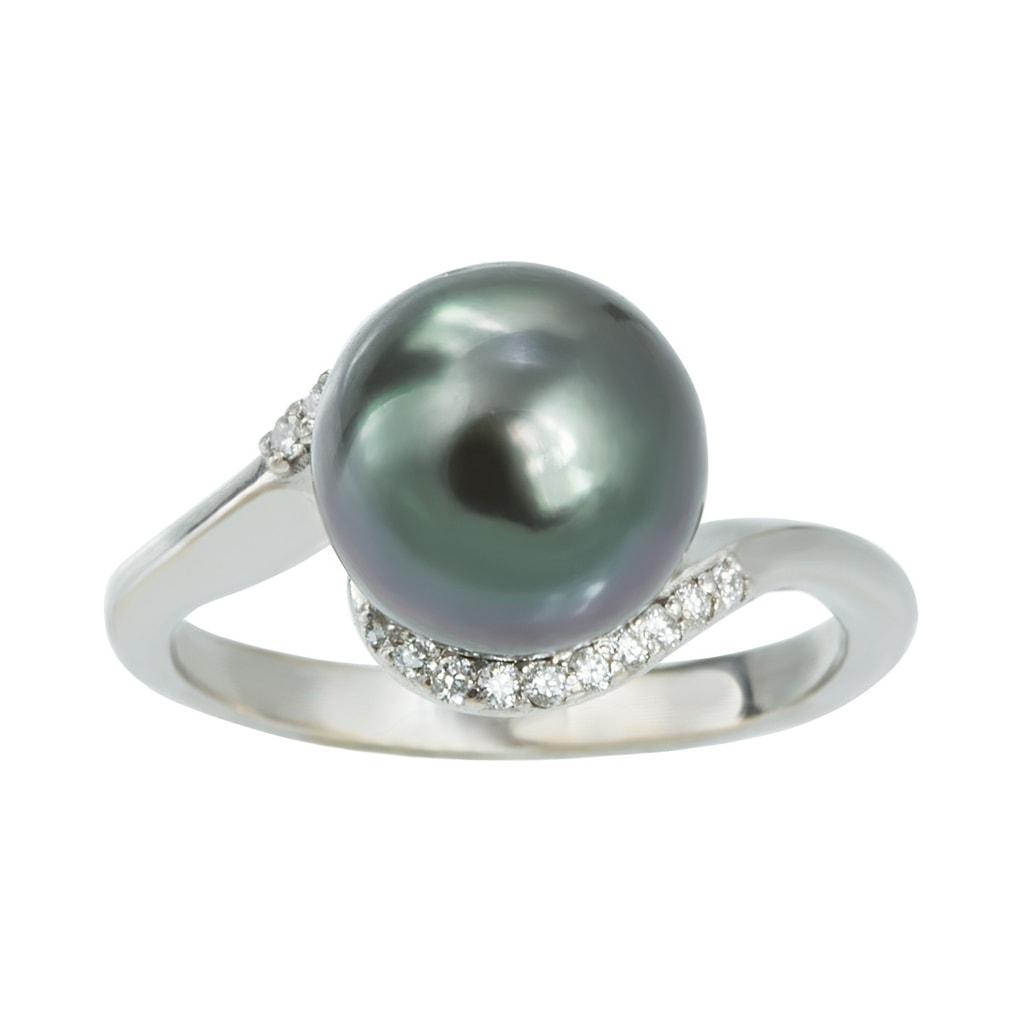 bague en argent avec perle de tahiti et diamants klenota bijoux avec amour. Black Bedroom Furniture Sets. Home Design Ideas