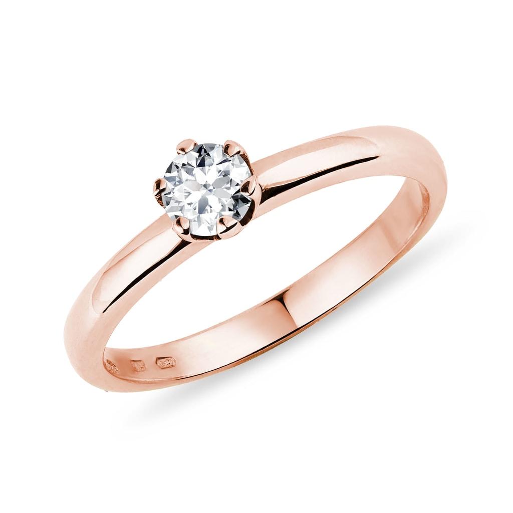 Złoty Pierścionek Zaręczynowy Z Diamentem Klenota
