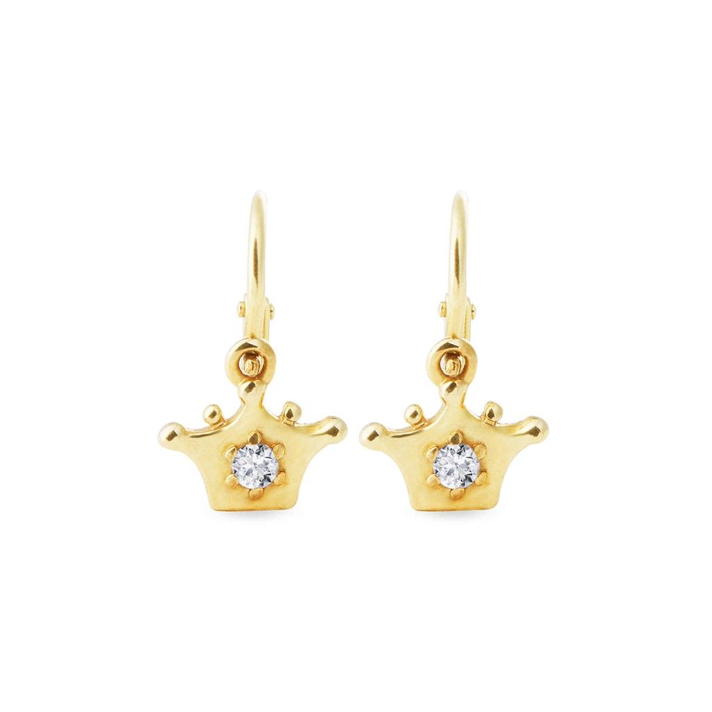 Gold Crown Shaped Earrings