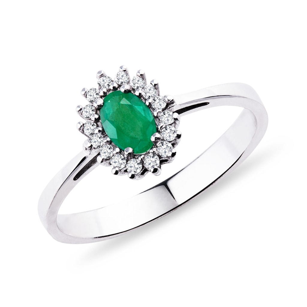 Bien-aimé KLENOTA | Bague avec émeraude et diamants | Bagues en Émeraude  FP79