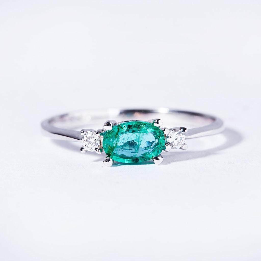 Smaragd Ring Mit Diamanten Klenota