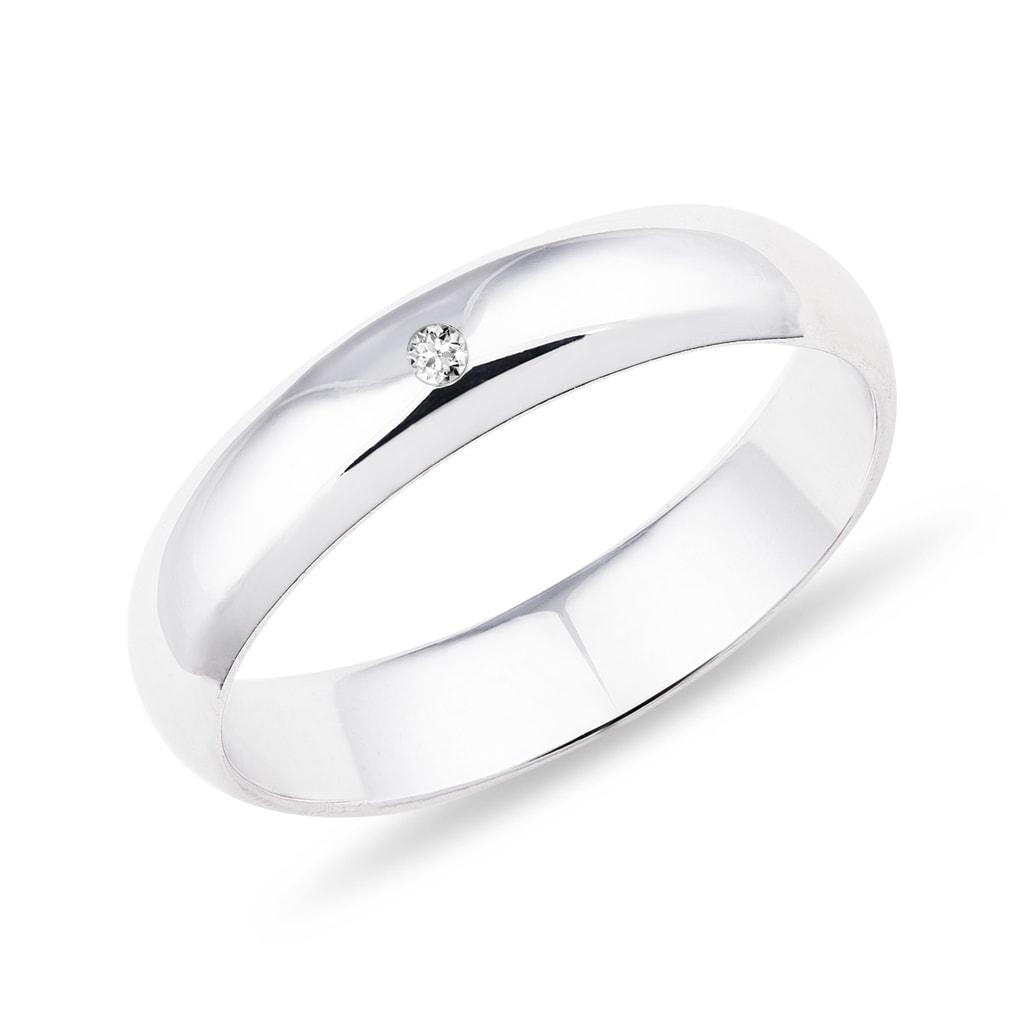 Snubni Prsten Z Bileho Zlata S Diamantem Klenota