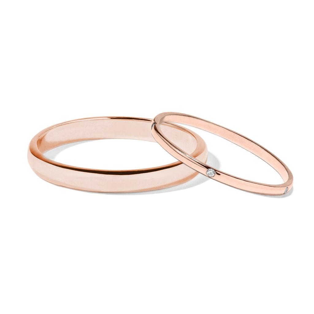 Diamond Wedding Rings In 14kt Rose Gold Klenota