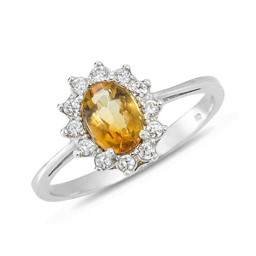 klenota citrine and cz ring in sterling silver citrine