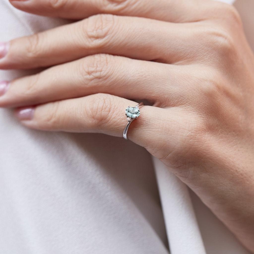 Aquamarin Ring Mit Diamanten Klenota