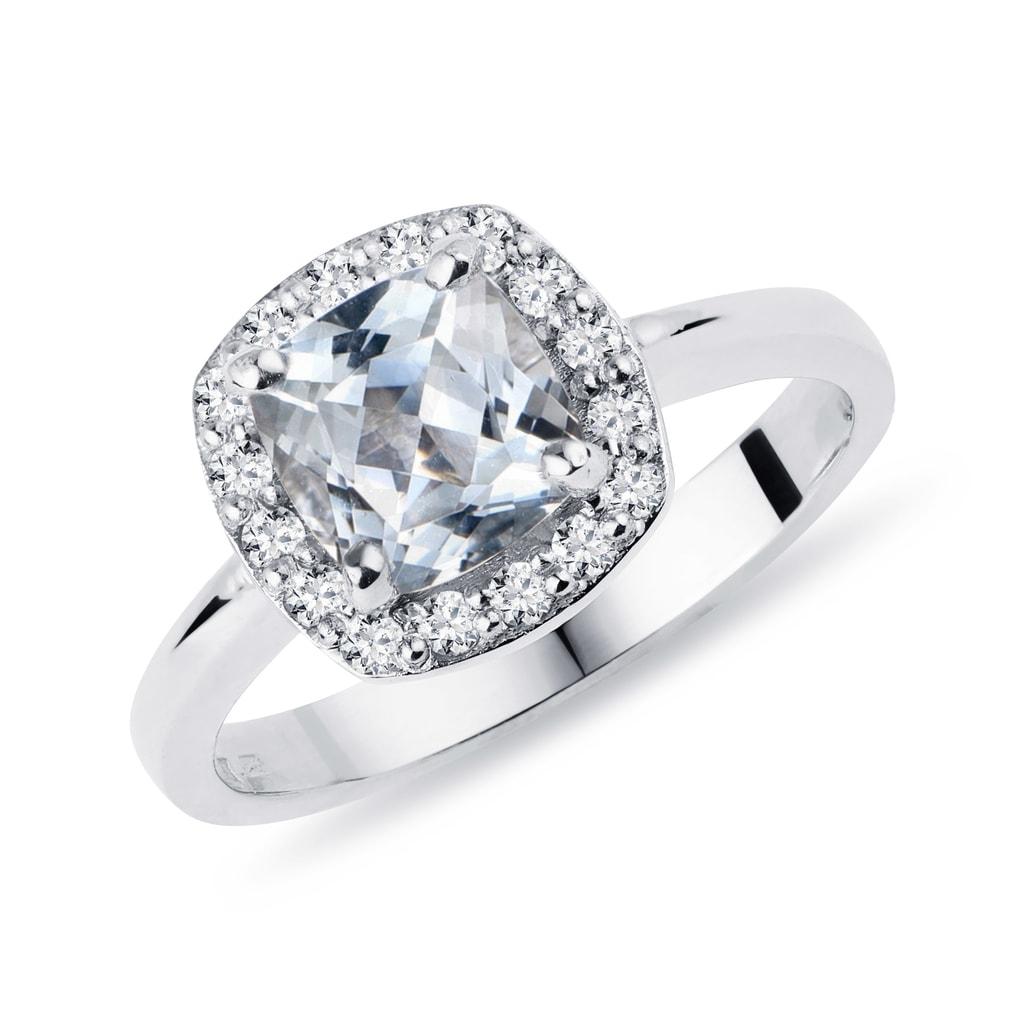 Złoty Pierścionek Zaręczynowy Z Akwamarynami I Diamentami Klenota