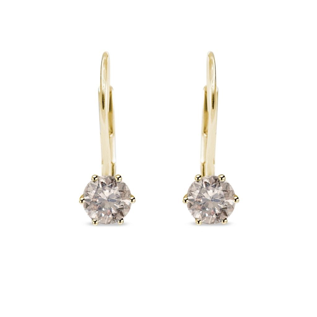 Zlaté náušnice s diamanty champagne  5dd62880b48