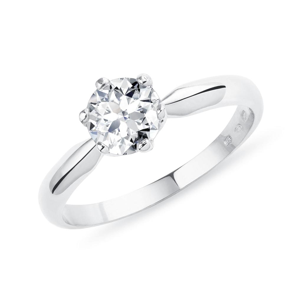 Luxusni Zasnubni Prsten Z Bileho Zlata S Briliantem Klenota