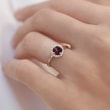 GARNET AND DIAMOND RING IN 14KT GOLD - ENGAGEMENT GEMSTONE RINGS - ENGAGEMENT RINGS