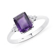AMETHYST AND CZ RING IN STERLING SILVER - STERLING SILVER RINGS - RINGS