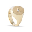 Diamond star signet ring in yellow gold
