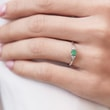 Gold ring with emerald and diamonds