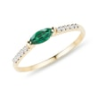 GOLD RING WITH EMERALD AND DIAMONDS - EMERALD RINGS - RINGS