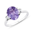 RING WITH AMETHYST AND CZ STONES - AMETHYST RINGS - RINGS