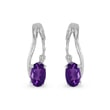 AMETHYST AND DIAMOND EARRINGS IN 14KT WHITE GOLD - WHITE GOLD EARRINGS - EARRINGS