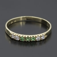 GOLD RING WITH EMERALDS AND DIAMONDS - GOLD RINGS - RINGS