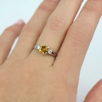 Sterling silver ring with citrine and CZ stones - Sterling Silver Rings