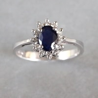 Sapphire and brilliant ring in 14kt white gold - White Gold Rings