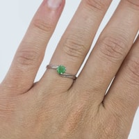 STERLING SILVER RING WITH EMERALD - STERLING SILVER RINGS - RINGS