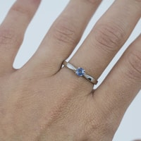 Sterling silver ring with sapphire - Sterling silver rings