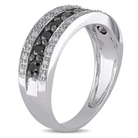 Gold ring with white and black diamonds - Diamond Rings