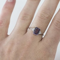 GOLD RING WITH AMETHYST AND DIAMONDS - AMETHYST RINGS - RINGS