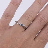 Gold ring with blue diamond - White gold rings