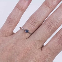 Silver ring with blue sapphire - Sapphire rings