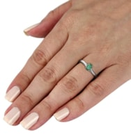 Sterling silver ring with emerald and diamonds - Emerald Rings