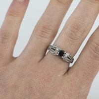 SILVER RING WITH DIAMONDS - DIAMOND RINGS - RINGS
