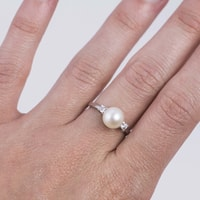 Sterling silver pearl ring with zircons - Sterling silver rings