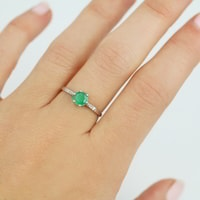 Gold ring with emerald and diamonds - White Gold Rings