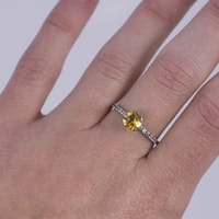 STERLING SILVER RING WITH CITRINE AND ZIRCON - CITRINE RINGS - RINGS