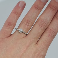 Diamond engagement ring in sterling silver - Sterling Silver Rings