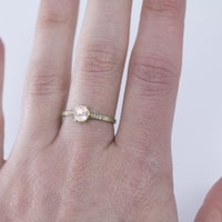 Pink quartz and diamond ring in 14kt gold - Yellow Gold Rings