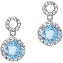 SILVER EARRINGS WITH TOPAZ AND CZ STONES - TOPAZ EARRINGS - EARRINGS