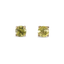 GOLD EARRINGS WITH PERIDOT STONES - PERIDOT EARRINGS - EARRINGS