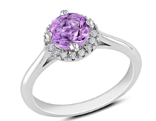 SILVER RING WITH AN AMETHYSTS AND DIAMONDS - HALO ENGAGEMENT RINGS - ENGAGEMENT RINGS WITH GEMSTONES