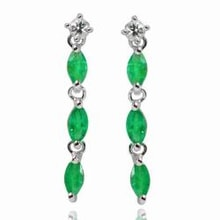 EMERALD EARRINGS WITH WHITE TOPAZ - STERLING SILVER EARRINGS - EARRINGS