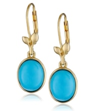 GOLD PLATED SILVER EARRINGS TURQUOISE - STERLING SILVER EARRINGS - EARRINGS