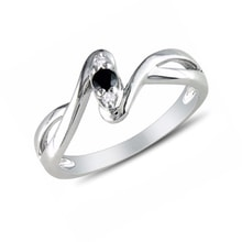 Sterling silver ring with diamonds - Sterling silver rings