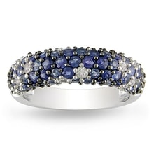 SILVER RING WITH BLUE AND WHITE SAPPHIRES - JEWELLERY SALE