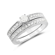 Engagement and wedding rings with diamonds in white gold - Jewellery by Klenota